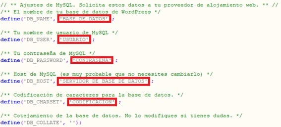 Fichero wp-config.php WordPress