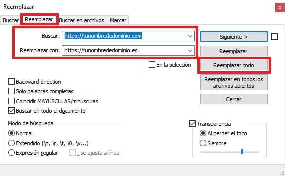 Reemplazar URLs