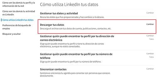 Descargar datos LinkedIn