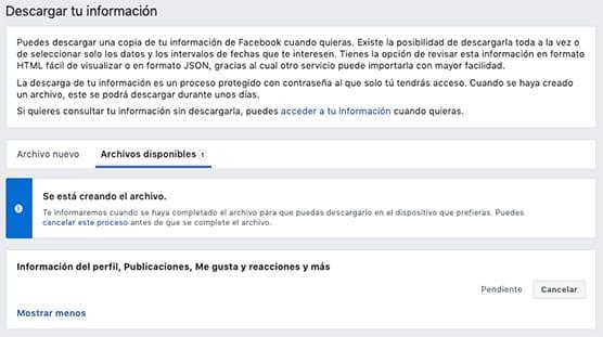 Facebook archivos